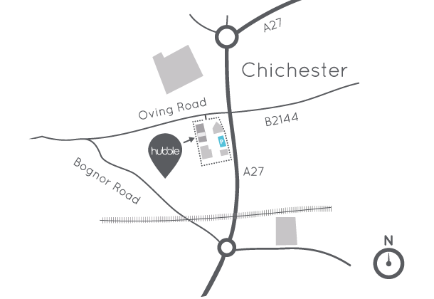 Hubble kitchen showroom location map Chichester, West Sussex