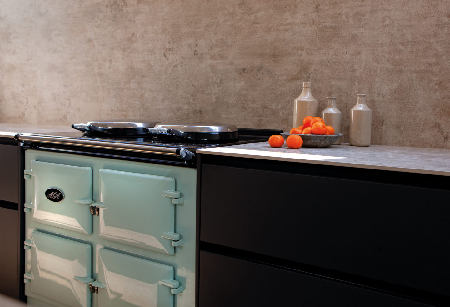 Designer kitchen with AGA range cooker by Hubble