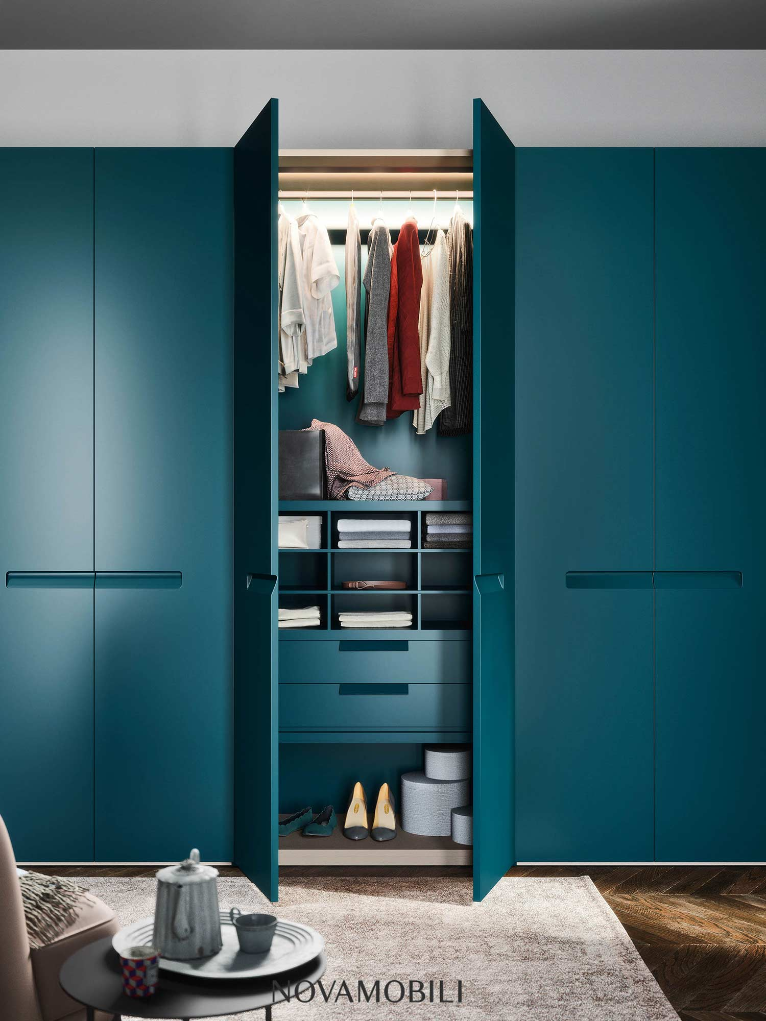 Designer wardrobe in teal Hubble bedroom