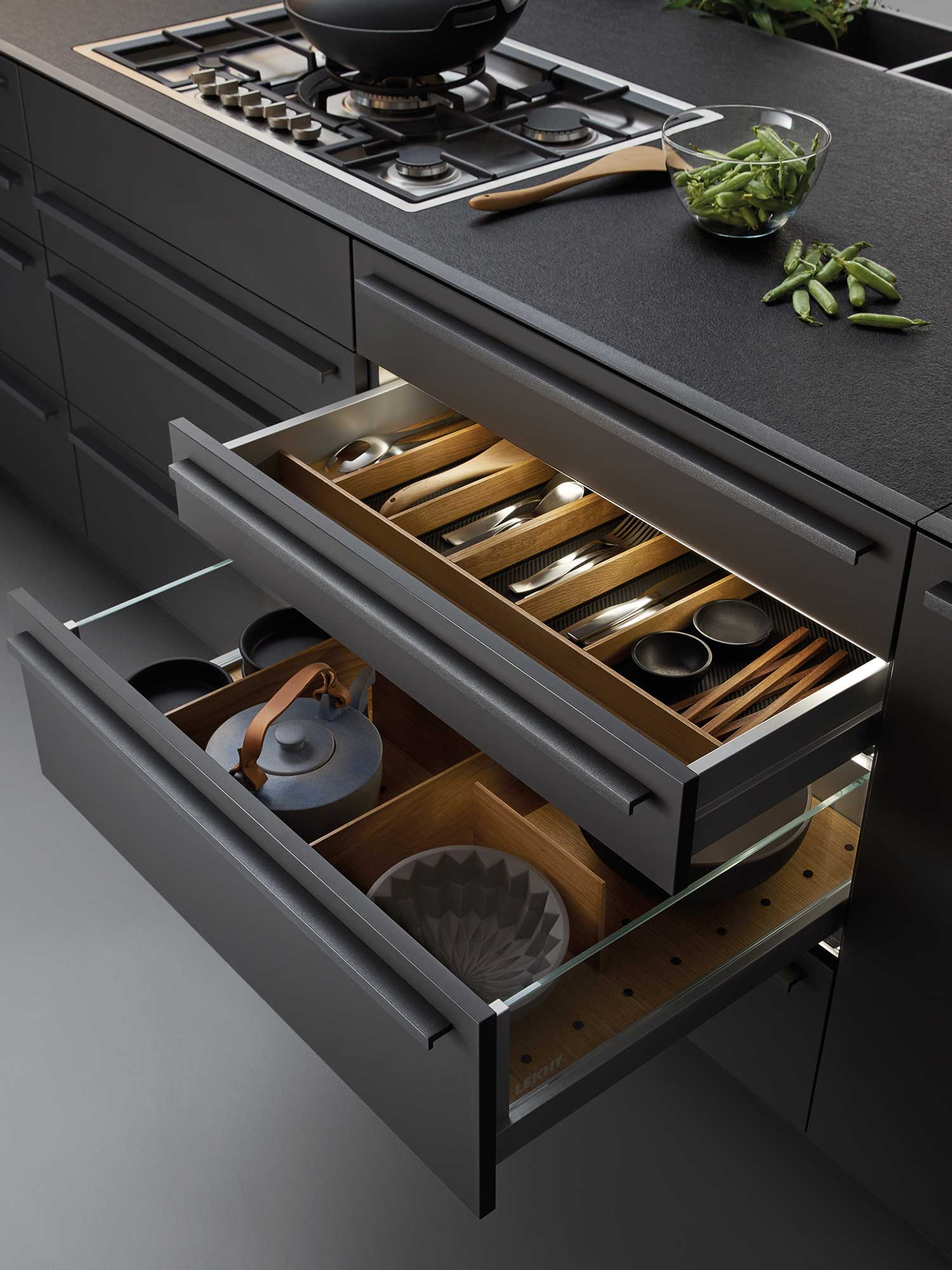 Modern designer kitchen worktop and drawers by Hubble