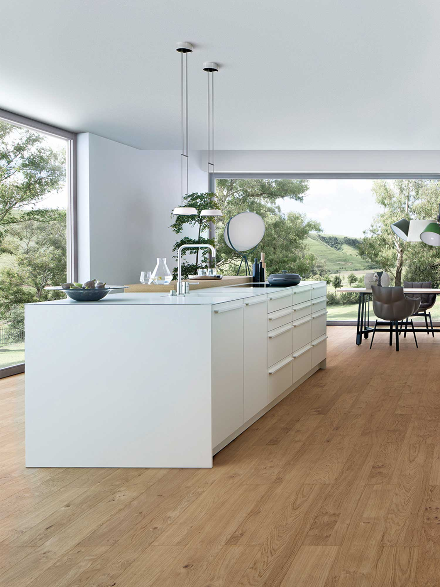 White minimalist kitchen by Hubble