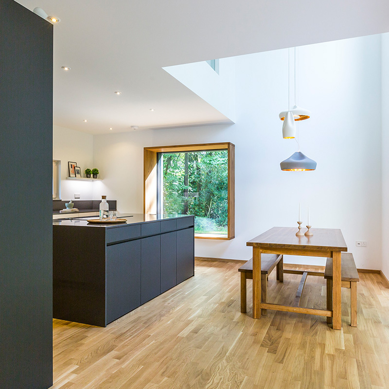 Contemporary designer kitchen fitting and dining space by Hubble