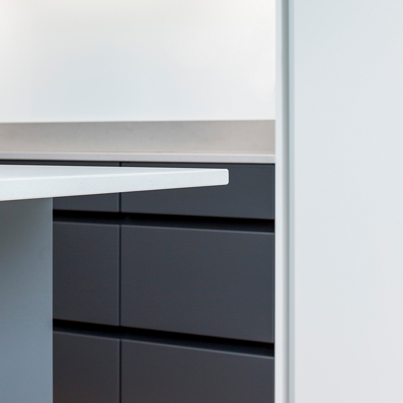Worktop detail in designer kitchen by Hubble