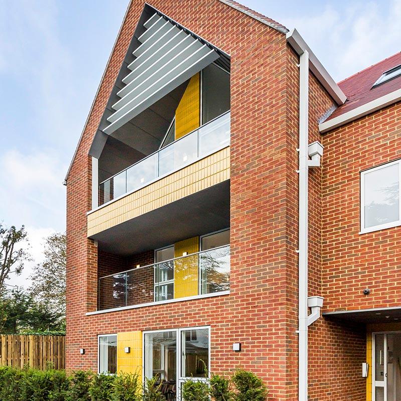 Modern UK housing with balconies