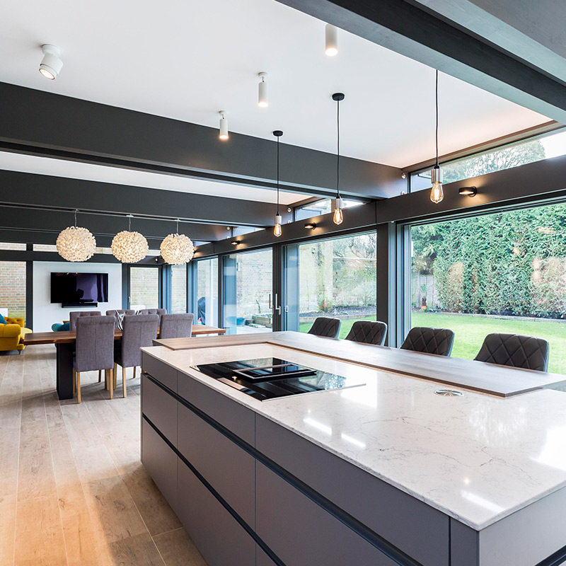 Leicht open plan kitchen in Guildford residential property by Hubble