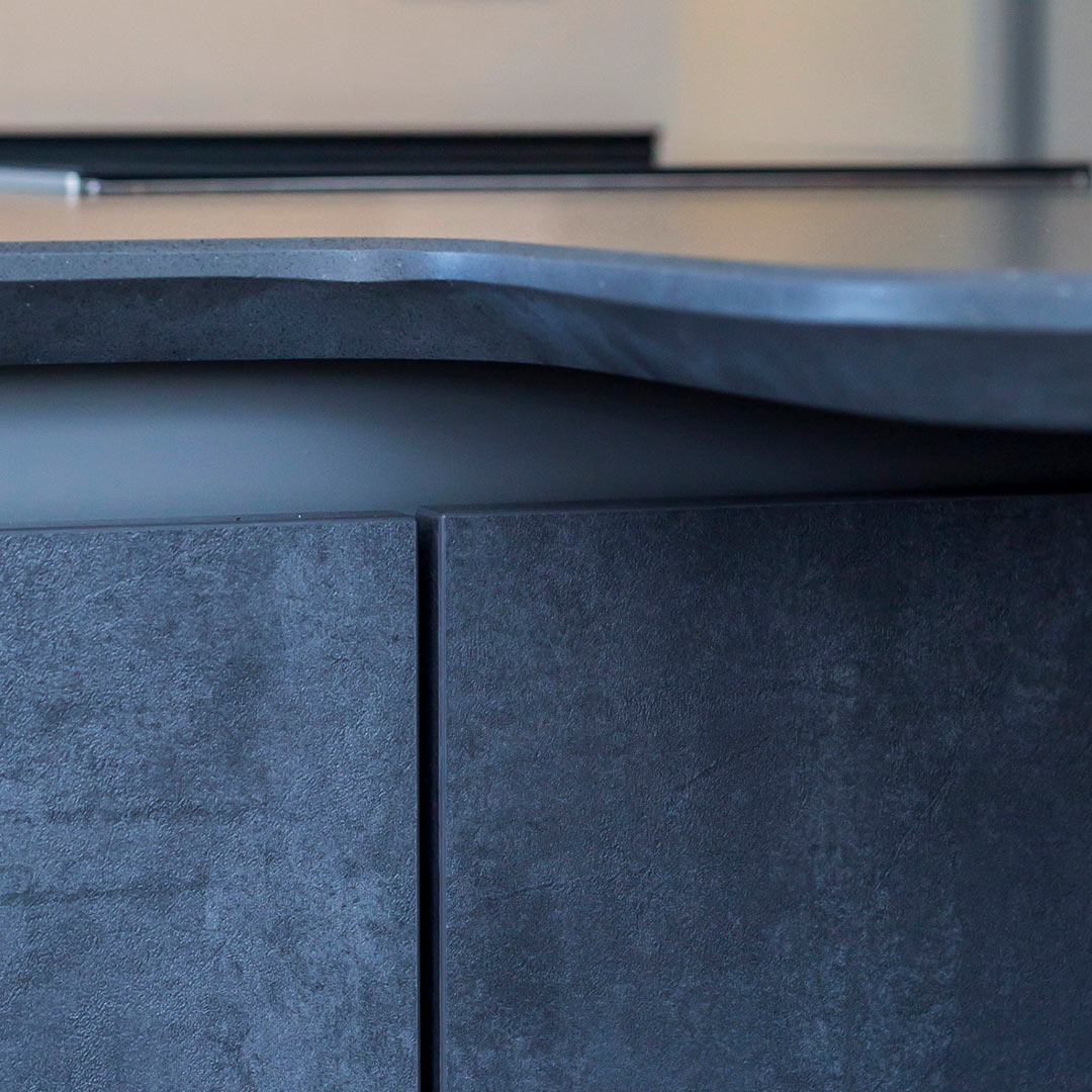 Worktop detail in designer Leicht kitchen fitting by Hubble