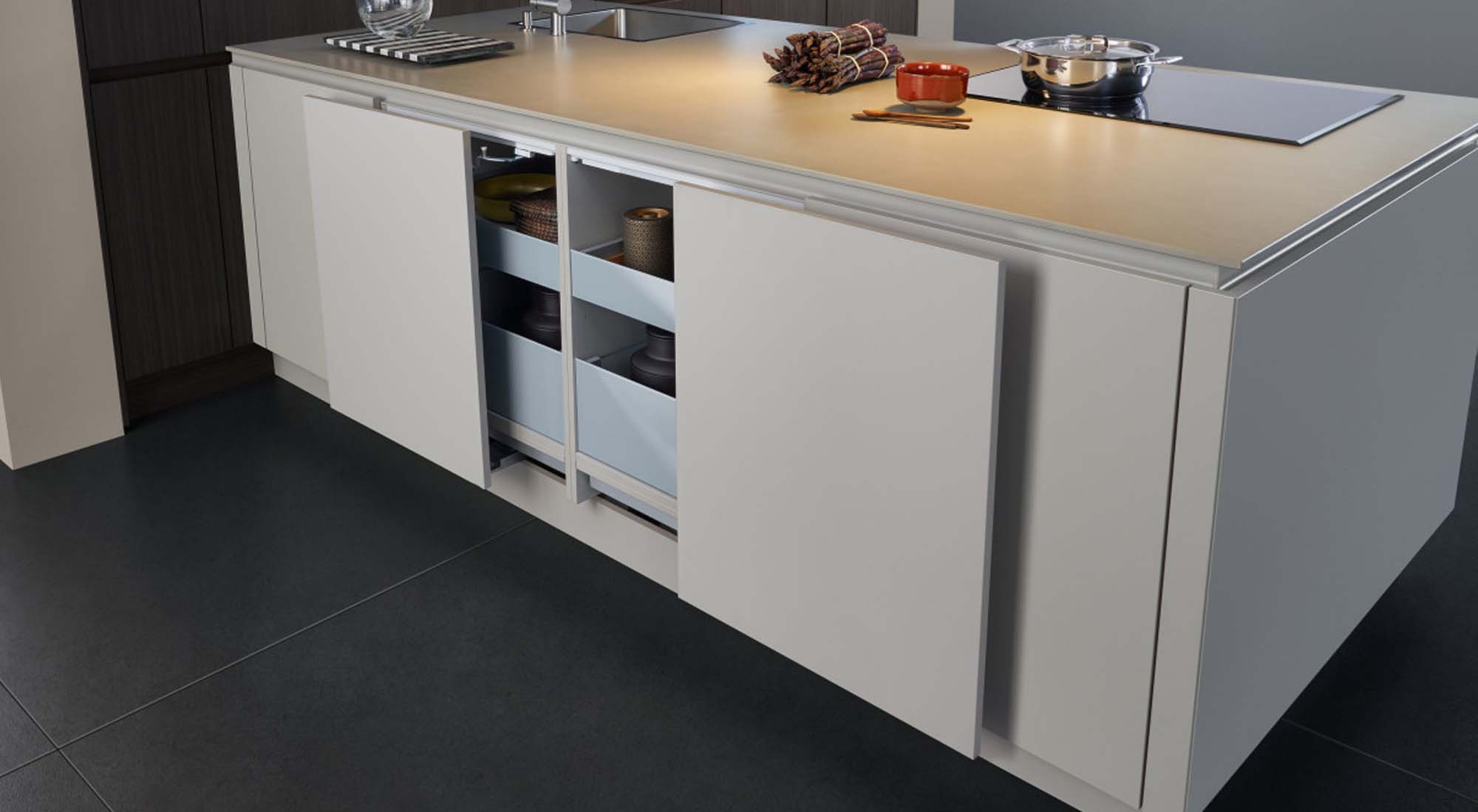 Designer kitchen worktop and storage by Hubble