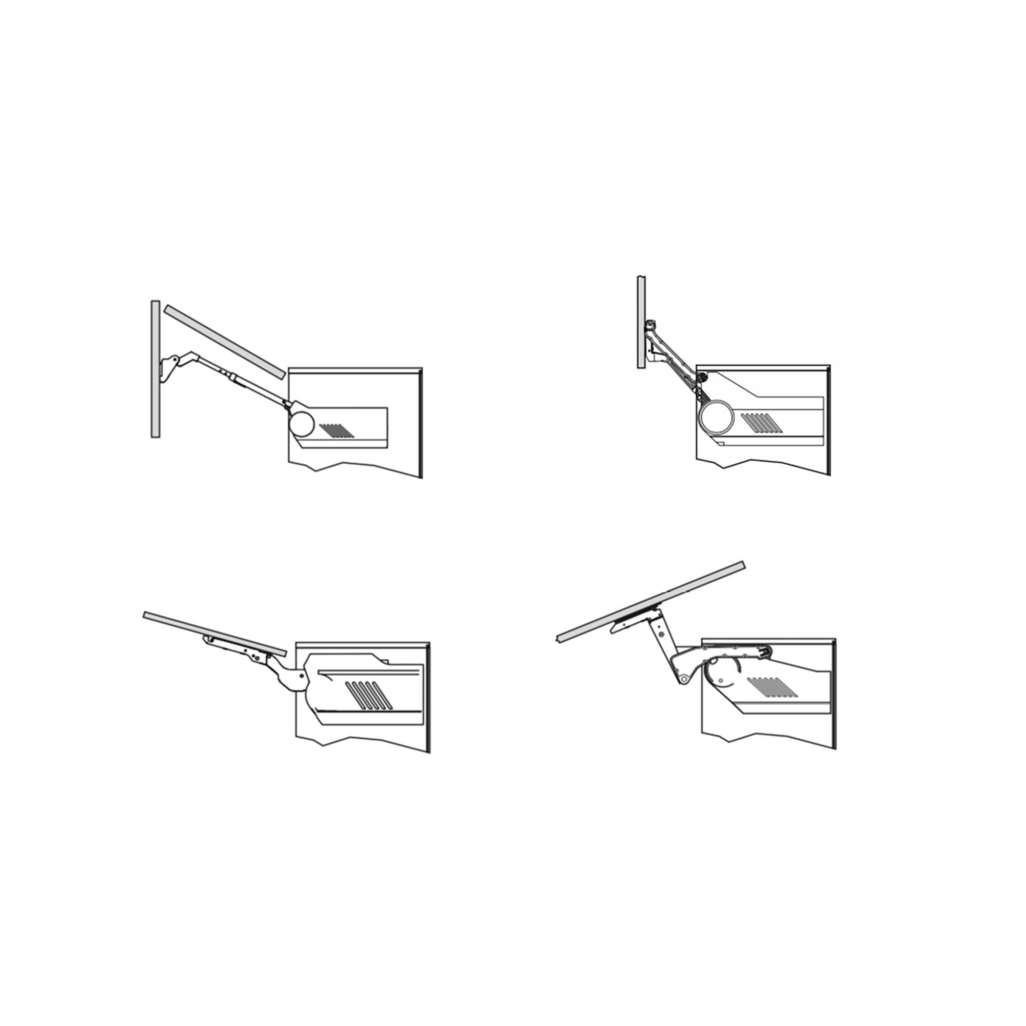 Push-catch handle and touch opening system illustration in Hubble designer kitchen