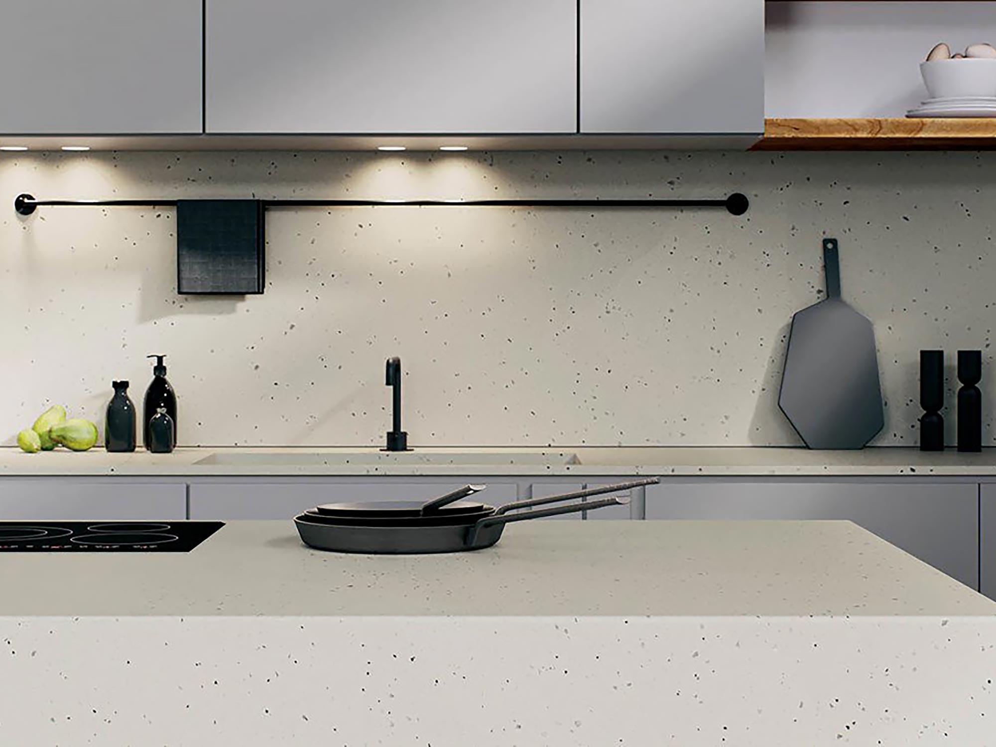 Caesarstone kitchen worktop frozen terra render