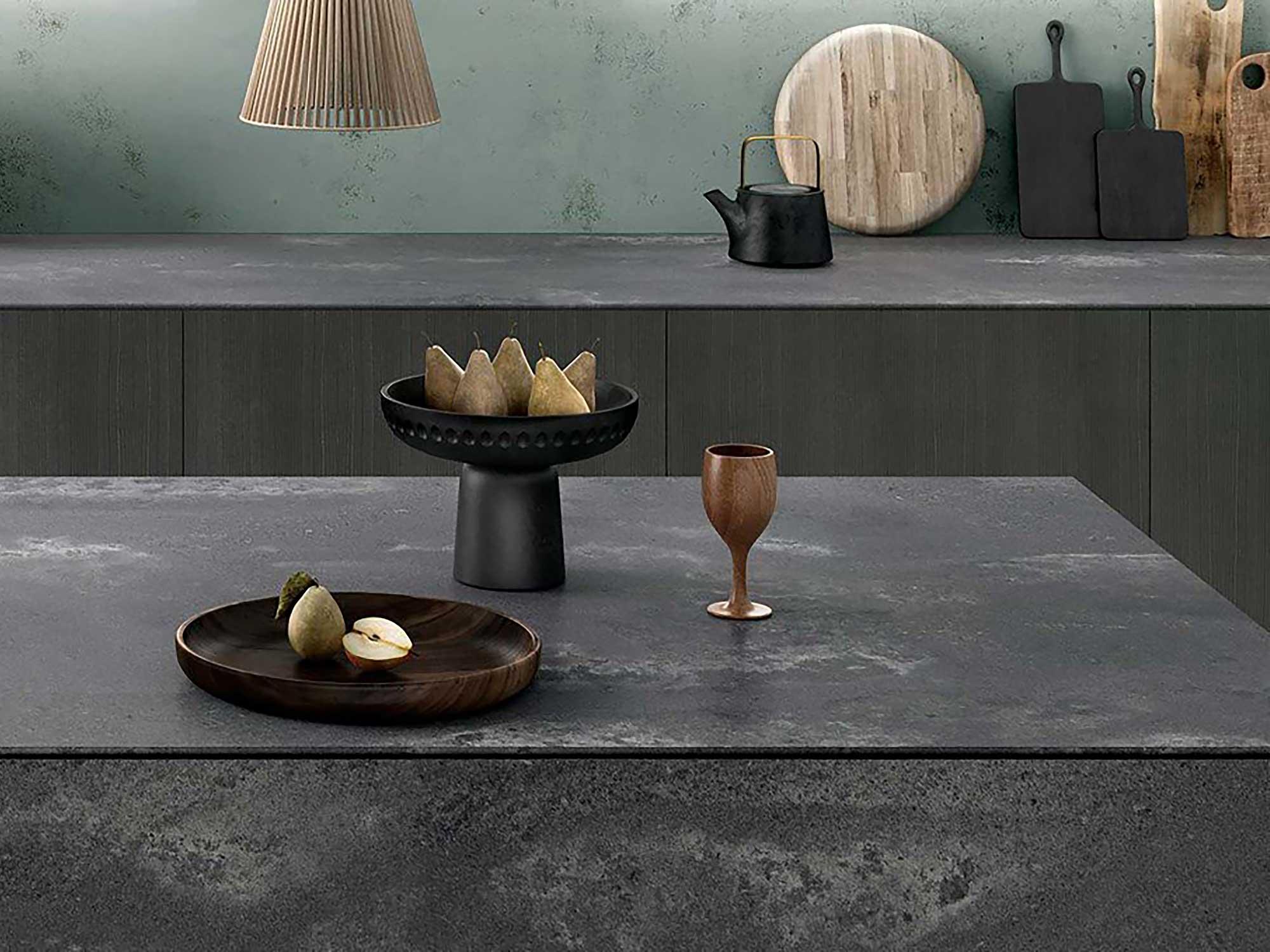 Caesarstone kitchen worktop rugged concrete render
