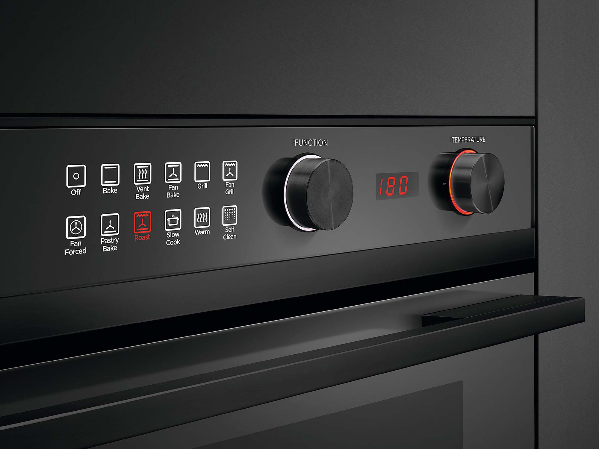 Fisher Paykel pyrolytic wall oven multi-function control panel black