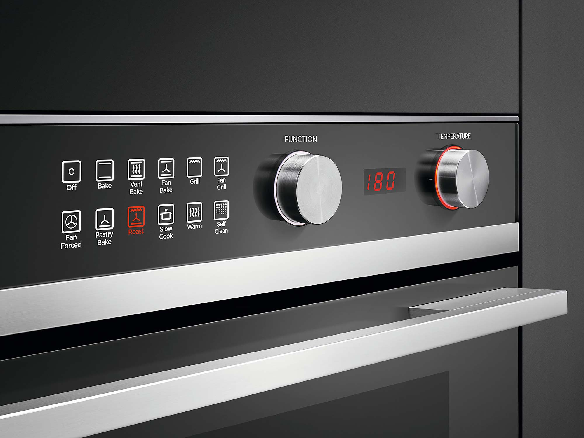 Fisher Paykel pyrolytic wall oven multi-function control panel chrome