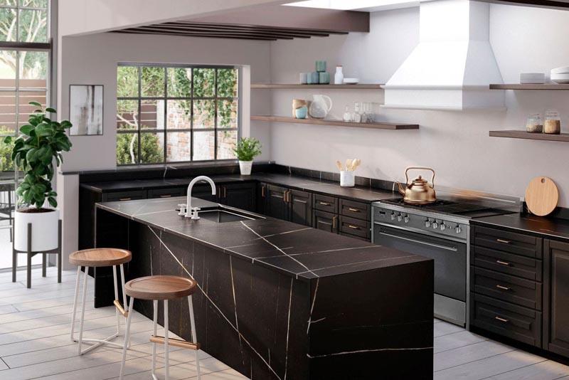 Kitchen Silestone wideshot noir - Hubble