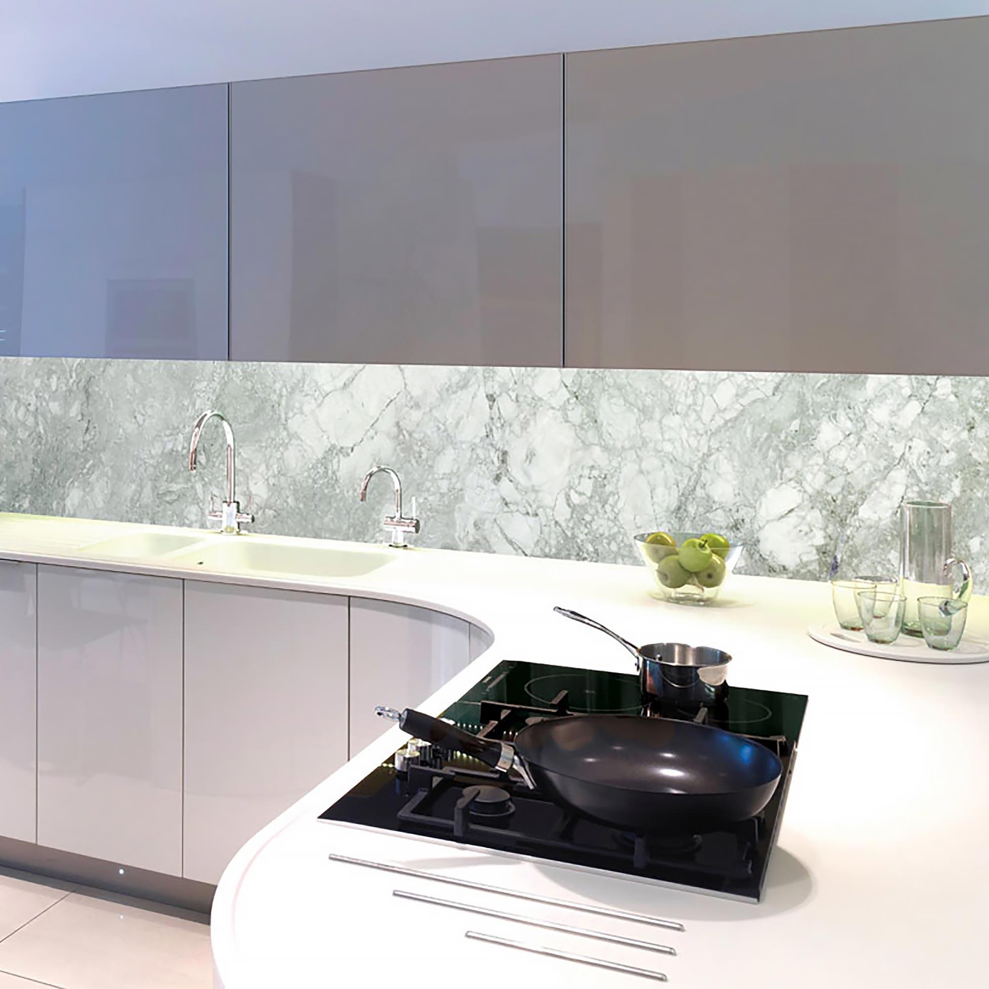 Kitchen splashback marble printed on glass