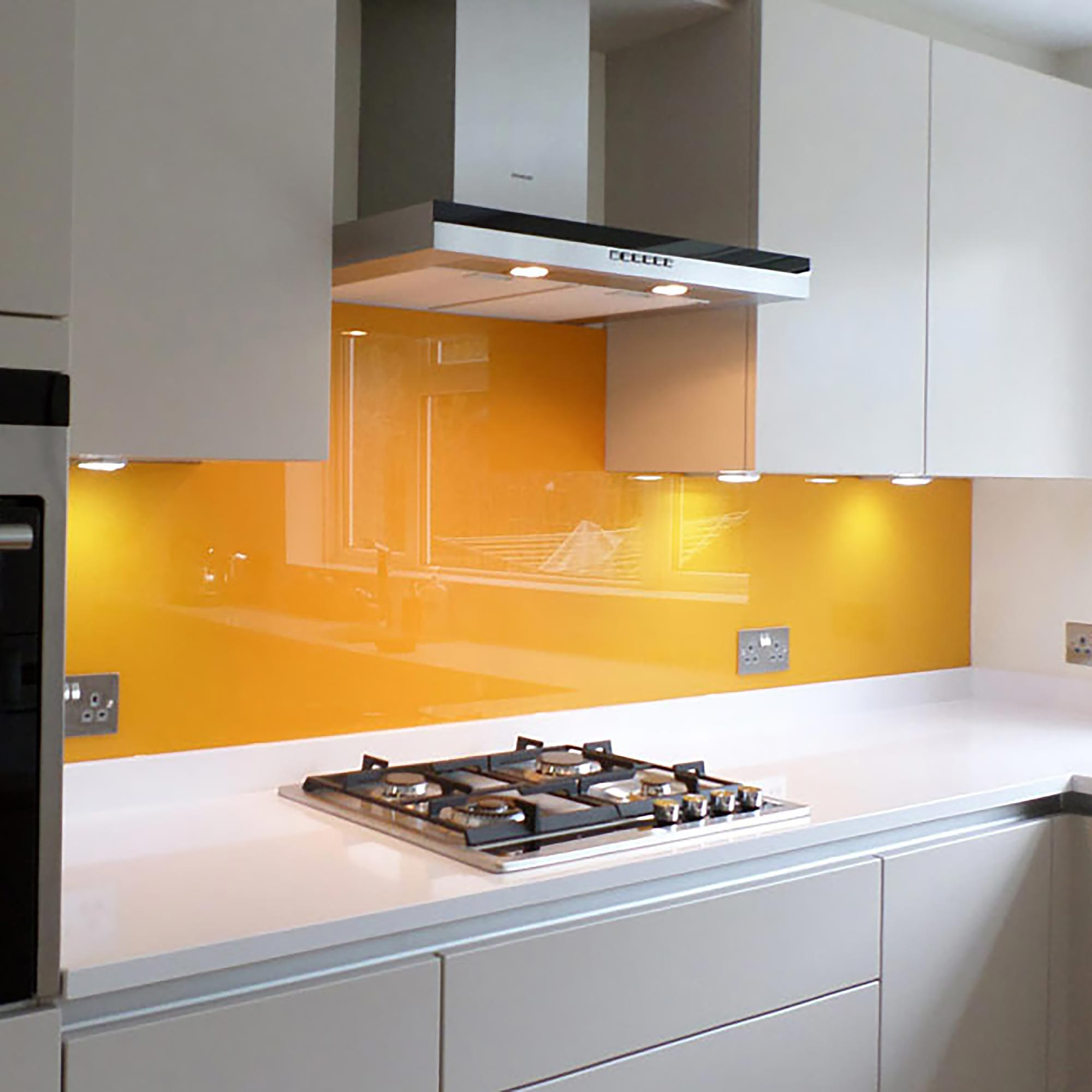Glass kitchen splashback orange/yellow