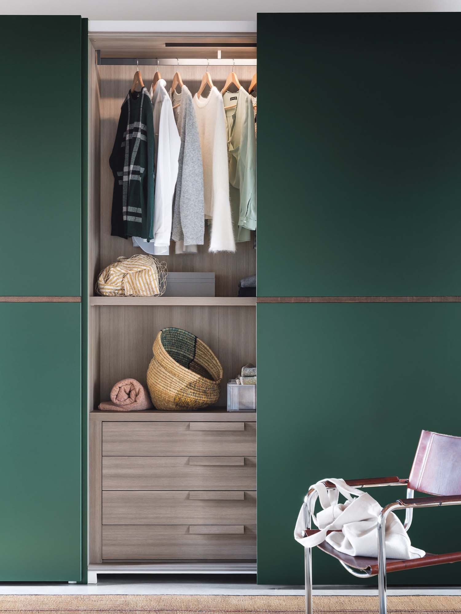 Novamobili Green Wardrobe Open | Hubble Kitchens & Interiors