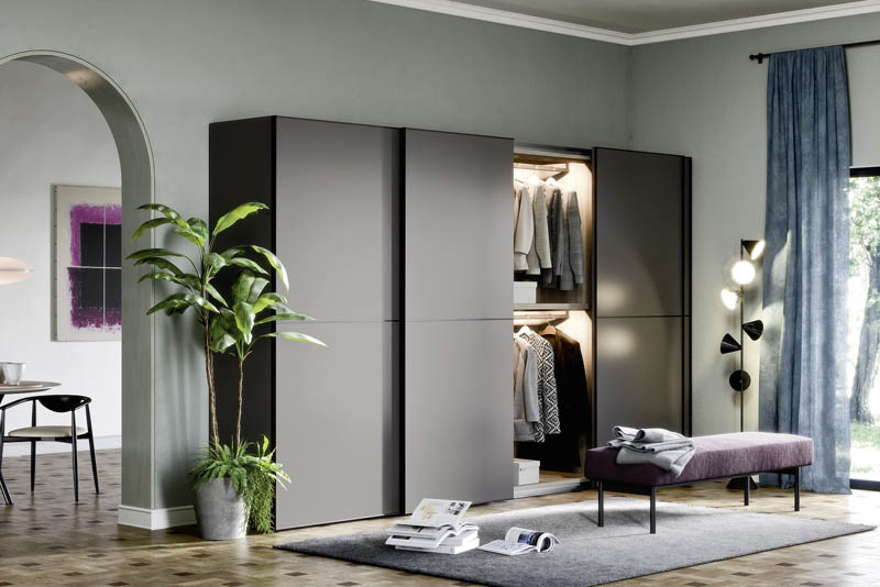 Novamobili Slide Wardrobe Open | Hubble Kitchens & Interiors