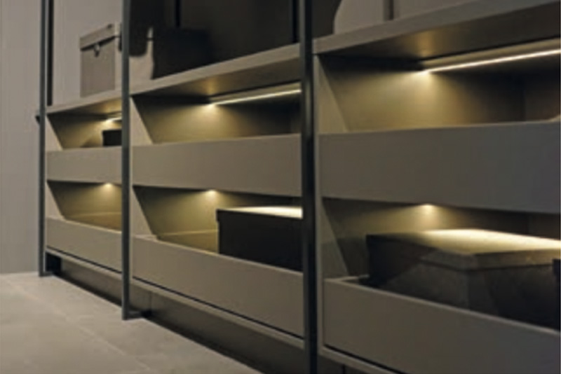 Leicht drawer with embedded lighting - Hubble Kitchen